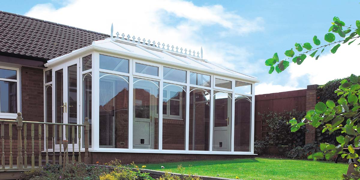 White Glass-To-Floor Conservatory