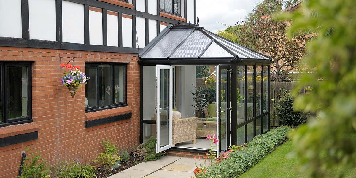Small Black Conservatory Amp French Doors Black