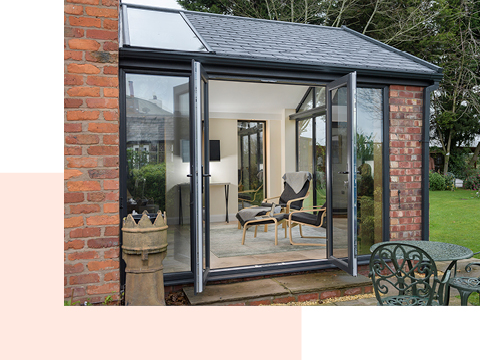 An extension with French doors